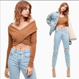 •Wilfred Free• Cross Detail Cropped Sweater